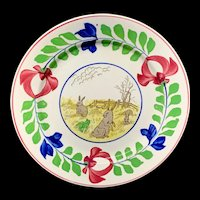 Antique Spongeware Rabbitware Ironstone Plate ~ Adams Rose 1900