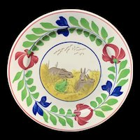 Spongeware Rabbitware Ironstone Plate ~ Adams Rose 1900
