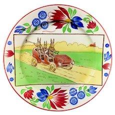 Spongeware Stick Spatter Rabbitware Ironstone Plate ~ Jalopy Car c 1900