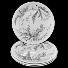 Four Large Wedgwood Black Transferware Plates ~ SEAWEED 1883