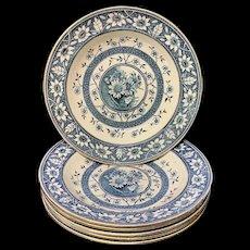 Six Large Palmyra Aesthetic Movement Blue Transferware Soup Plates ~ SUNFLOWERS 1883