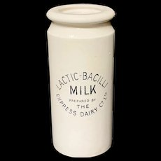 English Ironstone MILK Dairy Shop Crock Tub c1920