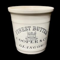 Scottish Ironstone Finest Pure BUTTER Dairy Shop Crock Tub c 1890