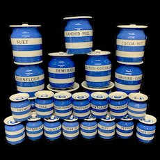 26  Full Set Cornishware T G Green Banded Kitchen Ware Storage Jars ~ 1930