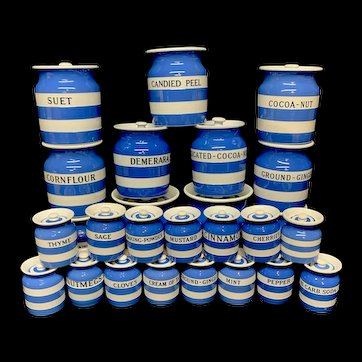 26  Full Set Cornishware T G Green Banded Kitchen Ware Storage Jars ~ 1930