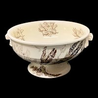 Rare Brown Wedgwood Centerpiece Fruit Bowl ~ SEAWEED 1883