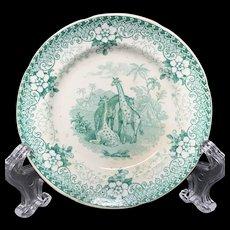 Rare Staffordshire Green Transferware Cup Plate ~ 1836 ~  GIRAFFE