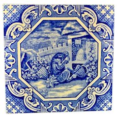 Minton & Hollins Tile ~ Aesop Fable ~ Beehive with Bear ~ 1870