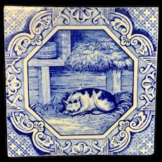 Minton & Hollins Tile ~ Aesop Fable ~ Belling the Cat ~ 1870
