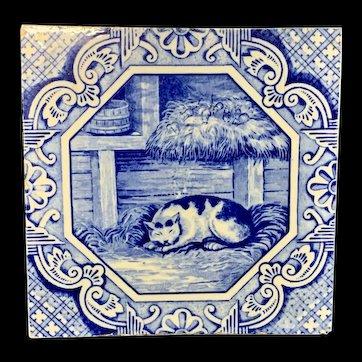 Minton & Hollins Tile ~ Aesop Fable ~ Belling the Cat ~ 1870