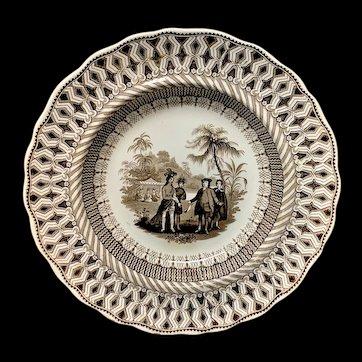 Brown Transferware ~ Historical William Penns Treaty 1847