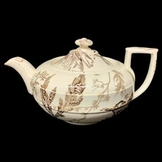 The Best Victorian Brown Transferware Tea Pot ~ SEAWEED 1883