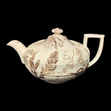The Best Victorian Brown Transferware Tea Pot ~ SEAWEED 1883