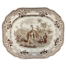Large Brown Staffordshire Platter ~  GIRAFFE  1836