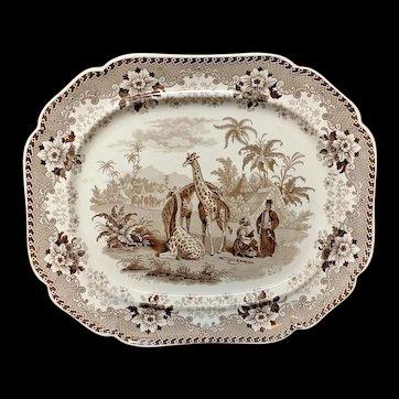Large Brown Staffordshire Platter ~  GIRAFFE  1836