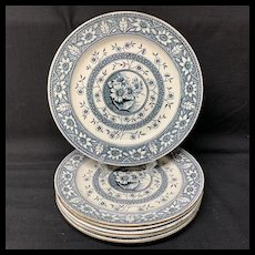 6 Superb Palmyra Blue Transferware Plates ~ SUNFLOWERS 1883
