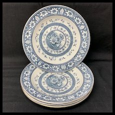 Four Large Palmyra Aesthetic Movement Blue Transferware Soup Plates ~ SUNFLOWERS 1883