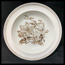 Wedgwood BOTANICAL Creamware Transferware Plate CLEMATIS ~ 1878
