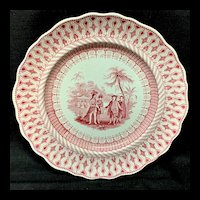 Large Red Pink Transferware Plate ~ Historical William Penns Treaty 1847