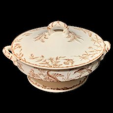 Rare Round Brown Transferware BIRDS Tureen ~ Indus 1885