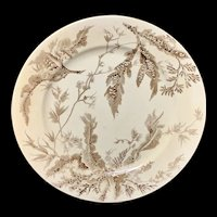 Wedgwood Staffordshire SEAWEED Brown Transferware Plate   1883