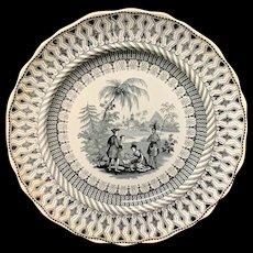 Black Transferware Plate ~ Historical William Penns Treaty 1847