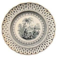 Black Transferware Plate ~ Historical William Penns Treaty 1847