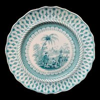 Green Transferware Plate ~ Historical William Penns Treaty  1847