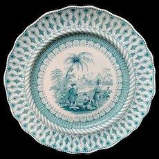 Green Transferware Plate ~ Historical William Penns Treaty  1847