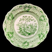 Davenport Staffordshire Green Transferware Plate Chinese Pastimes 1840