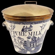 Best Pure Milk English c1885 Pail ~ Early Flow Blue Willow Pattern