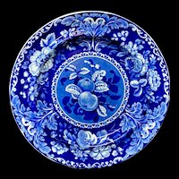 Early Staffordshire Dark Blue Transferware Plate ~ Fruit and Flowers  1825