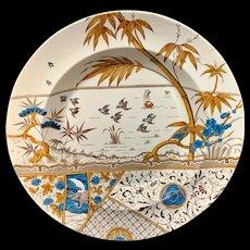 Rare Aesthetic Movement Polychrome Soup Plate ~ MELBOURNE 1883