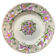 Polychrome Transfer Printed Victorian Soup Plate ~ GROSVENOR 1883