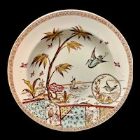 Brown Polychrome Transfer Printed Victorian Cream Soup Plate ~ TONQUIN 1883