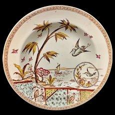 Brown Polychrome Transfer Printed Victorian Cream Plate ~ TONQUIN 1883