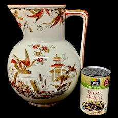 Very Large Aesthetic INDUS Water Pitcher ~ EXOTIC BIRDS 1885