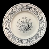 Victorian English Black Transferware Plate ~ SEAWEED SEASHELLS 1876