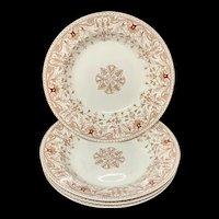 Four Aesthetic Movement Period BROWN TRANSFERWARE ~ Tournay 1885