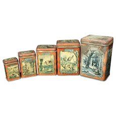 Nestled Set of 5 Early Fontaine Storage Tins ~  NURSERY RHYMES TALES