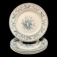 Four English Aesthetic Transfer Plates ~ Seaweed Seashells 1876