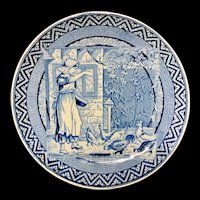 Staffordshire Blue Tazza ~ Wedgwood Months ~ AUGUST ~ Feeding Chickens ~ 1879