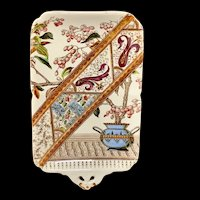 Miniature BROWN TRANSFERWARE Serving Tray Platter 1886