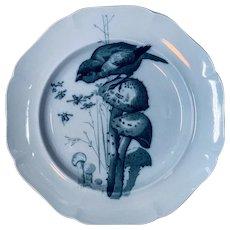 Blue Transferware Pierre Mallet  ORNITHOLOGY Canova Dinner Plate ~ 1870