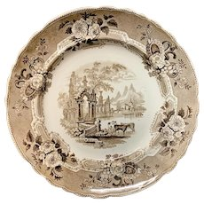 Brown Staffordshire Transferware Plate  ~  ABBEY RUINS 1830