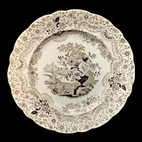 Superb Staffordshire Brown Transferware Plate ~ PERSIAN 1830