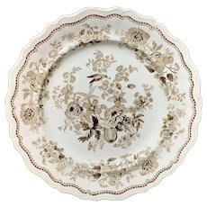 Superb Staffordshire Brown Transferware Plate ~ BRITISH FLOWERS 1830