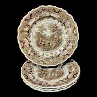 Four English Brown Staffordshire Plates ~ Parisian Chateau 1830