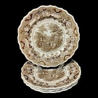 Four English Brown Staffordshire Plates ~ Parisian Chateau 1830