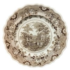 English Brown Staffordshire Plate ~ Parisian Chateau 1830